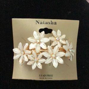 Natasha Flower Barrette with Rhinestones